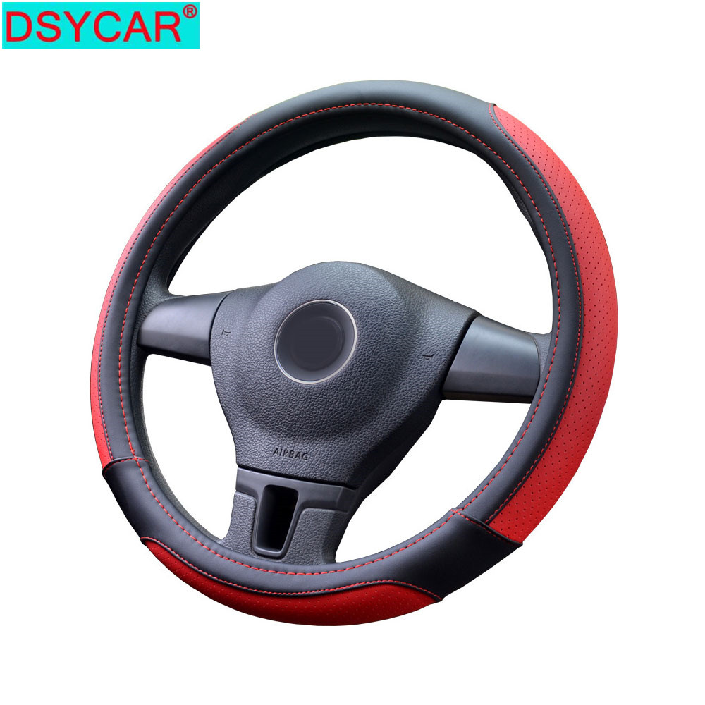 New PU Leather Car Steering Wheel Cover Fits 38cm Steering Wheel Car  Decoration