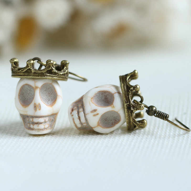 Vintage Gothic Crowned Skull Earrings,goth, Cosplay, Biker, Rocker, Halloween Earrings - Dangle Earrings -Gift for Her