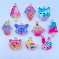 10 Cute Cartoon Mixed Animals, Ice Cream Resin Pendant Key Chain Pendant Necklace Pendant For DIY Decoration Accessories 036
