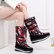 Fashion Platform Women Boots Shoes Warm Fur Female Winter Snow Mid-calf Bota