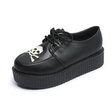 Купить с кэшбэком Rosetic Women Gothic Shoes Black Skull Print Casual Harajuku Sponge Cake Platform Vintage Female Retro Shoes School Girl Casual