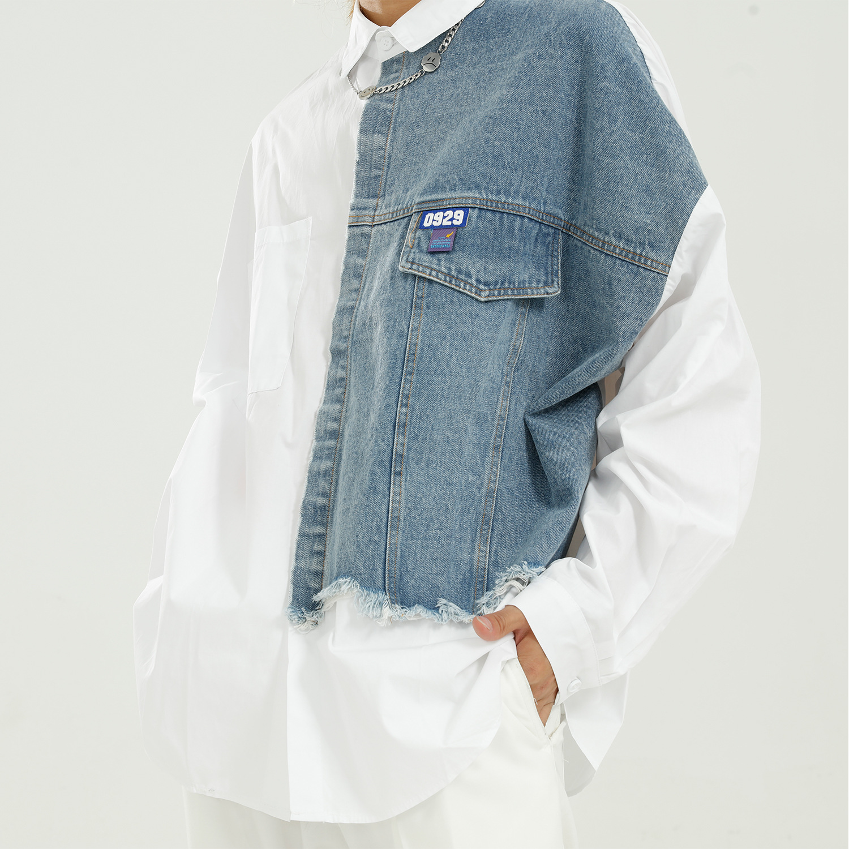 Men Autumn New Fashion Casual Loose Long Sleeve Denim Splice Shirt Male Streetwear Hip Hop Vintage Dress Shirts