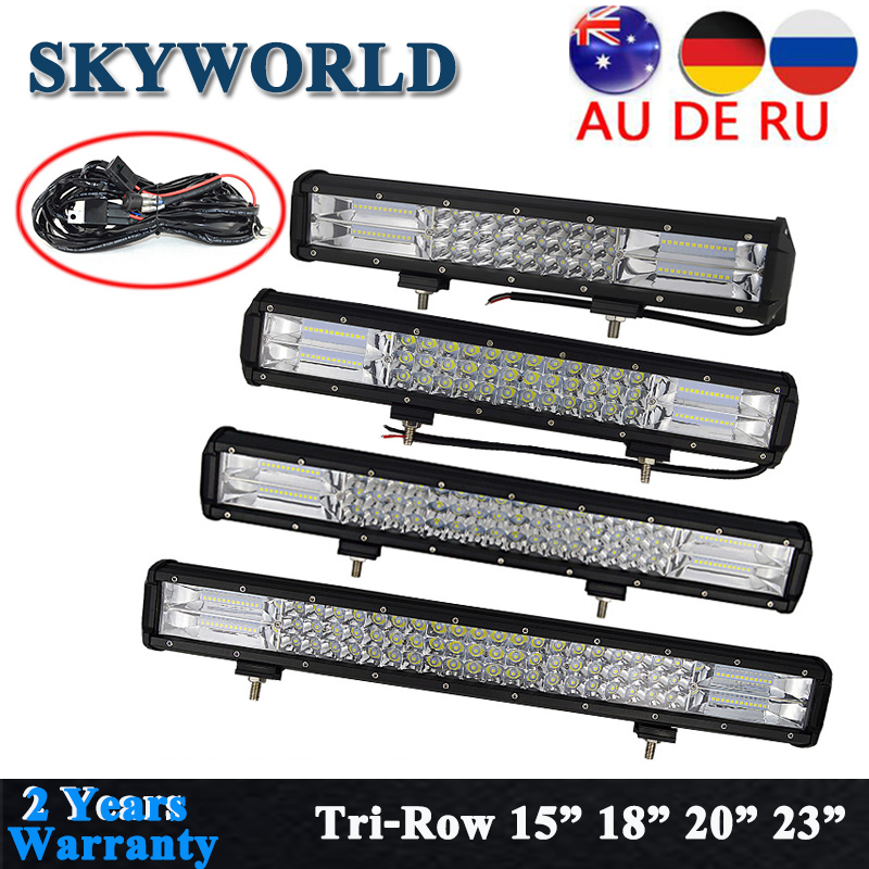 "SKYWORLD 4"" 5"" 15"" 18"" 20"" 23"" Inch LED Work Light Bar Spot Flood Combo Offroad 7D Tri-Row For Truck Jeep 4X4 4WD SUV ATV 12-24V"