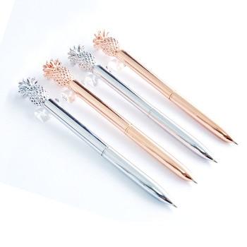 Free custom pineapple ballpoint pen rose gold electroplated metal ballpoint pen custom micro standard fruit creative pen creative resin axe style ballpoint pen