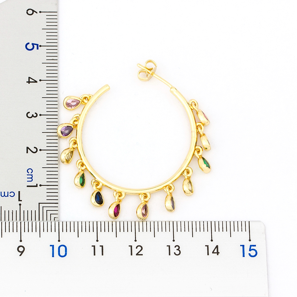 Big Hoop Gold Color Large Circle Creole Earrings Classic Fashion Top Quality Copper Zirconia Rainbow Earrings Jewelry Gift