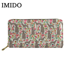 IMIDO Long Wallet Women Purses Weimaraner Pattern Wallet High Quality Clutch Fashion Wallet Monederos Para Mujer Carteira 2019