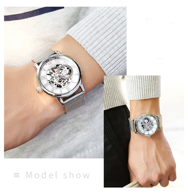 H797d6c9787c849be8d33271bb99ac55bR Coupons Sale Men Watches Mechanical Hand Wind Luxury Top Brand ORKINA Skeleton Stainless Steel Bracelet Mesh Strap Men's Watches