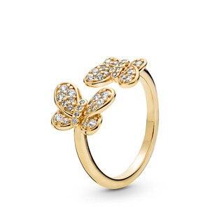 Image 1 - Original 925 Sterling Silver Jewelry Women Rings Clear CZ Dazzling Butterflies Rings for Women Golden Shine Jewelry Open Rings
