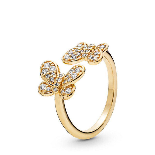 Original 925 Sterling Silver Jewelry Women Rings Clear CZ Dazzling Butterflies Rings for Women Golden Shine Jewelry Open Rings