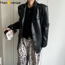 Pu faux leather suit jacket 2020 autumn spring lattice women