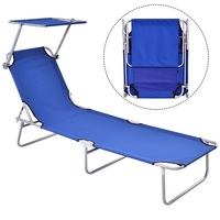 Foldable Relaxing Lounge Beach Chair Heavy Duty Steel Oxford Fabric Outdoor Camping Chair Adjustable Canopy Provides Sun Shade