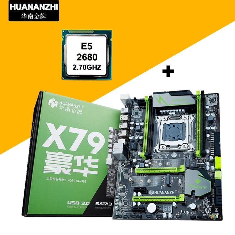 HUANAN V2.49 X79 motherboard CPU combos CPU Intel Xeon E5 2680 C2 2.7GHz RAM 4 slots support 4*16G memory M.2 PCI-E NVME