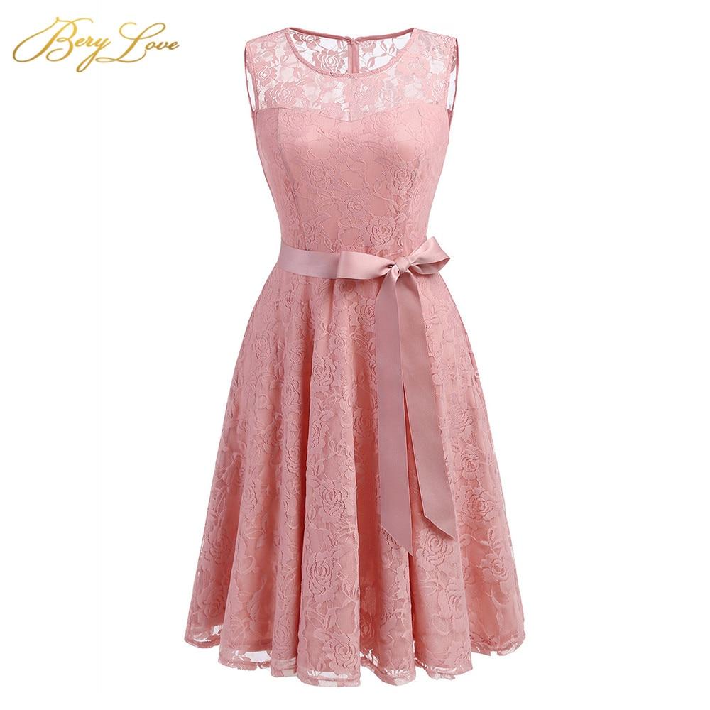 BeryLove Blush Pink Short Homecoming Dresses 2019 Lace A line Belt Mini Length Scoop Neckline Girl Cute Party Graduation Gown