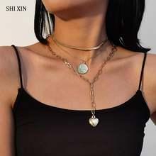 Многослойный чокер shixin 3 шт/компл ожерелье colar для женщин