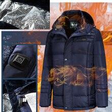 Electric Heating Russia Winter Jacket Men Intelligent Design Heating Temperature Controllable Fur Collar Parka Men  40 Degree