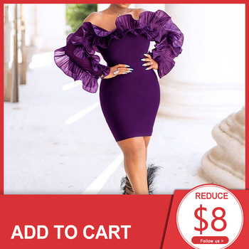 Purple Elegant Cocktail Dress Off The Shoulder Short Mini African Long Sleeves Wedding Party Formal Dress For Black Girls purple off the shoulder bell sleeves mini dresses with belt