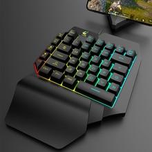 цена на 39 Keys One-handed Keyboard Mechanical Hand Feeling Mobile Phone Game Keyboard for LOL PUBG CF Game Backlight Gaming Keyboard