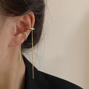 Simple Double Line Tassel Cuff Earring (No Piercing Ear)