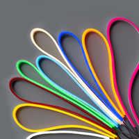 Tira de luces LED Flexible, neón, cc 12V IP67, resistente al agua, rosa, azul hielo, naranja, blanco, rojo y verde