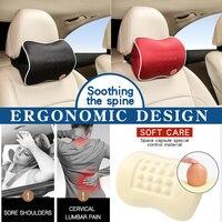 Auto encosto de cabeça do carro pescoço travesseiro lombar voltar apoio cabeça de retenção almofada para motorista espuma memória almofadas carro para mais baixo volta
