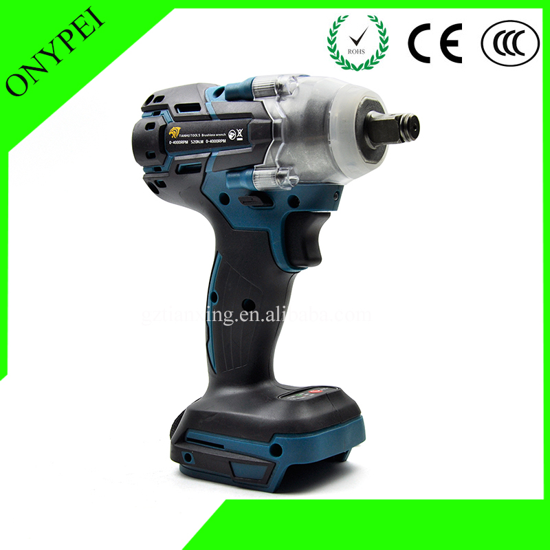 Electric Rechargeable Cordless Brushless Impact Wrench Fits For Makita Battery DTW285Z 18V 520NM 1/2