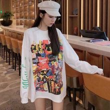NiceMix Autumn Harajuku Spoof graffiti letters printed tops tee Loose long sleeve T-shirt for women clothing streetwear(China)