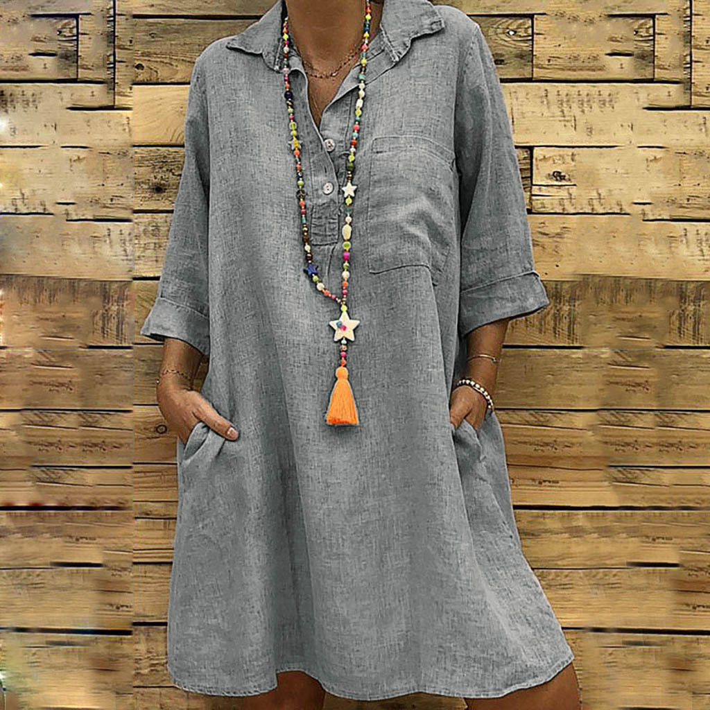 <font><b>5XL</b></font> Fashion Women's Clothing Plus Size Summer <font><b>Autumn</b></font> Turn Down Collar Pocket Dress <font><b>Sexy</b></font> Loose button Large Size Shirt Dress image