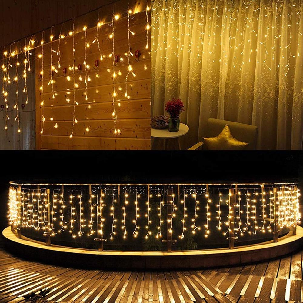 Рождественская гирлянда 3,5 м, 5 м, светодиодный занавес, сосулька, светильник, свисающий, 0,4 0,8 м, для помещения, для улицы, вечерние, для сада, для окна, декоративный светильник|Светодиодная лента|   | АлиЭкспресс