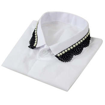 Lady Quality Shirt Collar Lace Dickie Lapel Diamond Pearl Decoration Fake Collar Detachable