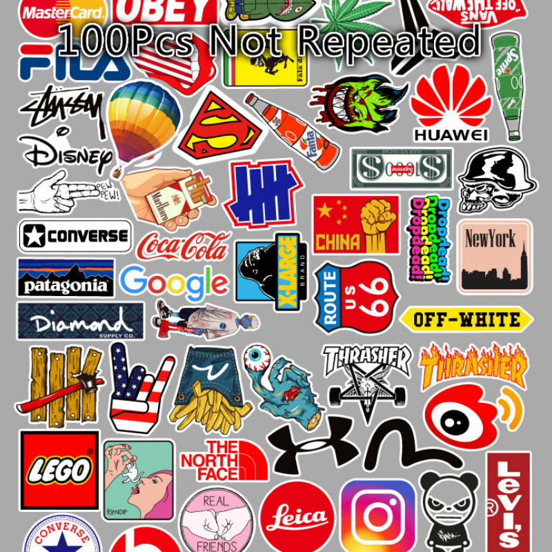 100Pcs Logo Tide Brand Cute Stickers Fresh Classic Laptop 50Pcs Guitar Car Stickers Sticker Anime Stickers Skateboard Stickers