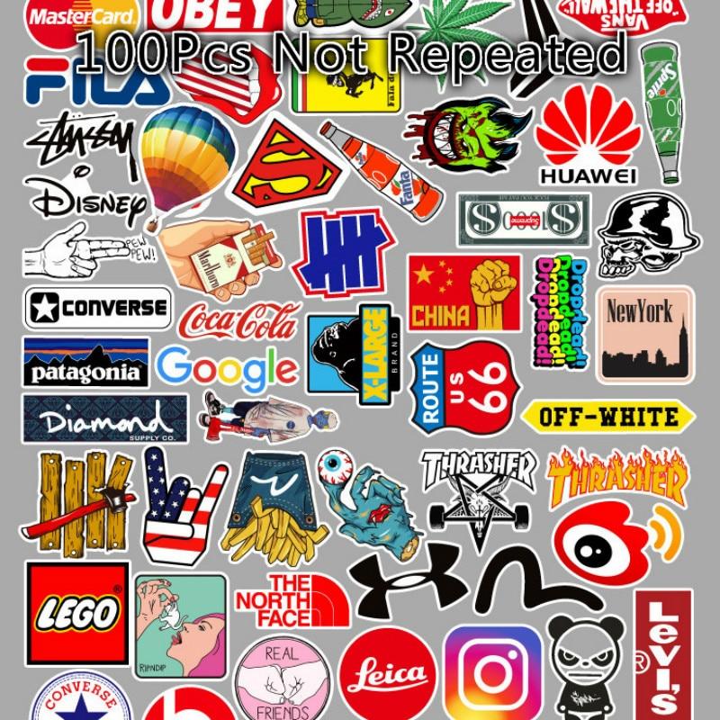 100Pcs Logo Tide Brand Cute Stickers Fresh Classic Laptop 50Pcs Guitar Car Stickers Sticker Anime Stickers Skateboard Stickers