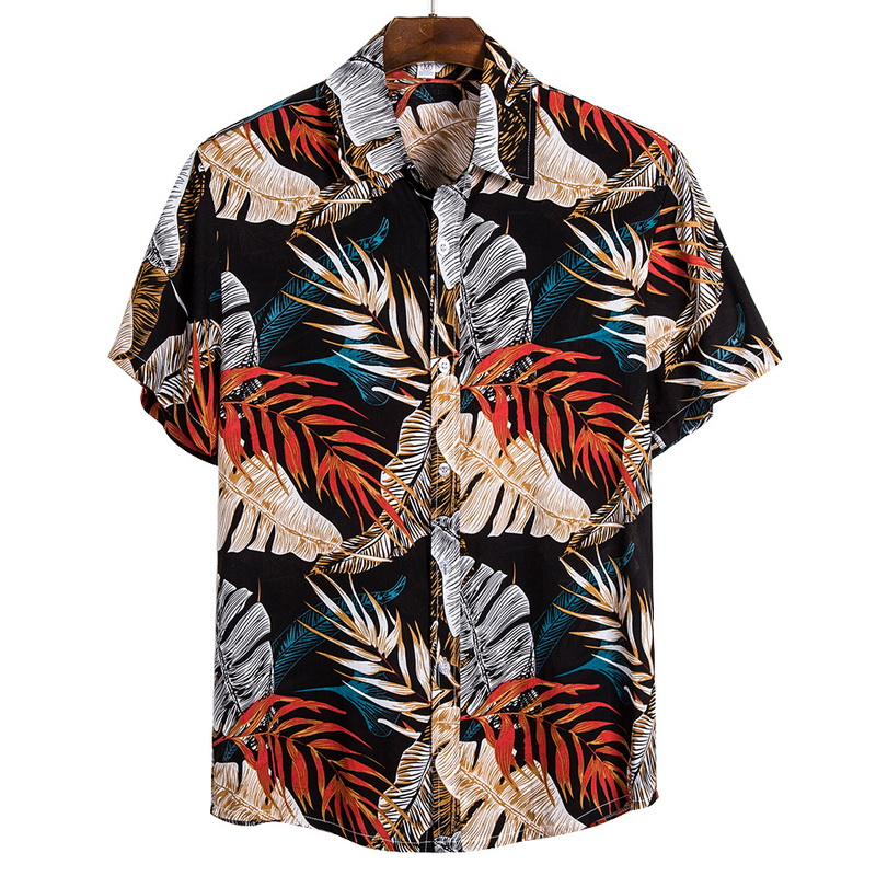 2021 New Arrival Men's Shirts Men Hawaiian Camicias Casual One Button Wild Shirts Printed Short-sleeve Blouses Tops 6