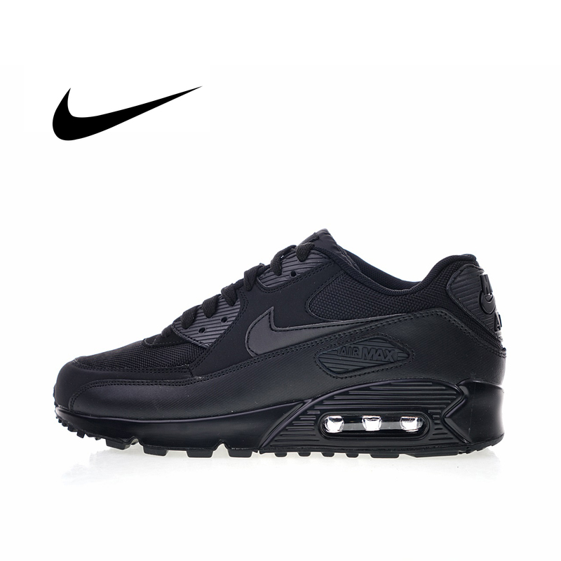 Original Authentic NIKE AIR MAX 90 Men Sneakers Black Running Shoes Breathable Shock Absorption Designer Footwear 537384-090