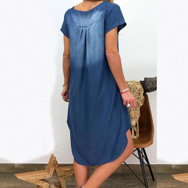 Women's Summer Cotton Dress Female Casual V Neck Denim Long Party Dresses Solid Color Short Sleeve Comfortable Loose Dress 3