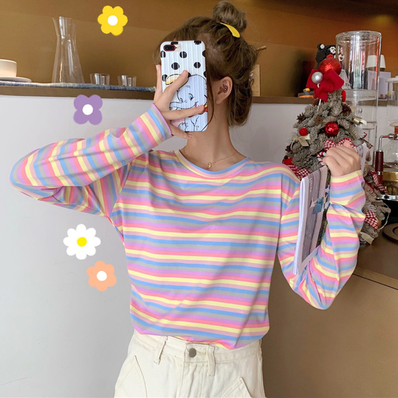 Harajuku Vintage T Shirt Ulzzang Girlfriends Kawaii Rainbow Stripe T-Shirts Autumn Women Casual Loose Long Sleeve Pink Top Femme