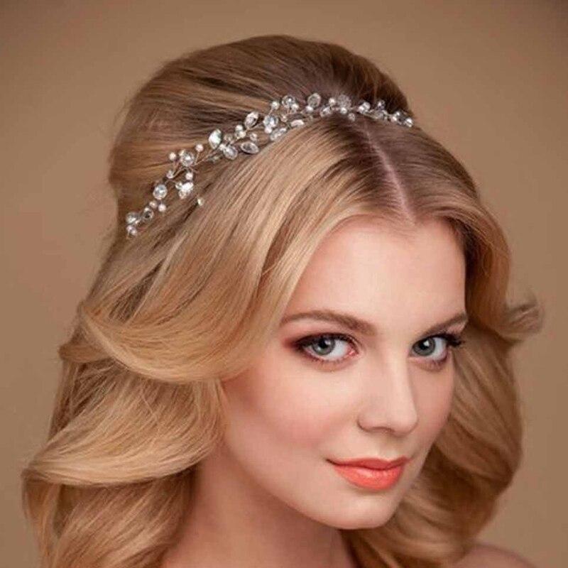 Женские аксессуары для волос ручной работы, простое украшение на голову с бусинами и жемчужинами, свадебная повязка на голову для свадебной...