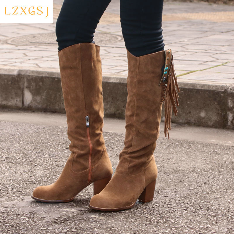 2021 New Fashion Women Shoes Knee-high Western Ridding Brown Boots Lady Wedge Heel Tassels Cowboy Long Boots Autumn Female Shoes