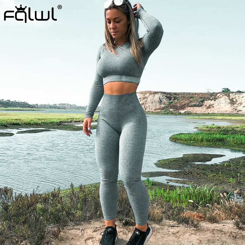 FQLWL Casual Two Piece Set Women Outfits Ribbed Knitted Suit Long Sleeve Crop Top And Pants Female Ladies Tracksuit Matching Set