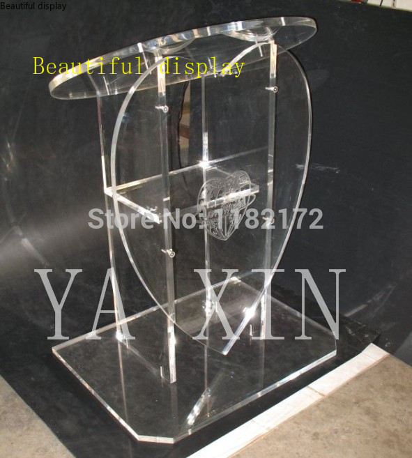 Free Shipping Hot Selling  Heart Shape  Acrylic Pulpit Lectern Podium