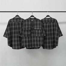 Black & Grey Oversized Plaid Flannel Shirt Henley Neckline S