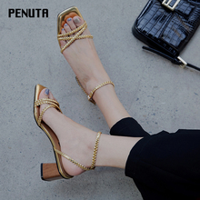 2020 PENUTA Chunky Heel Strappy Open Toe Buckle Sandals Gold Shoes Women Korean Style Ladies Knitting Sandals New Fashion X0078