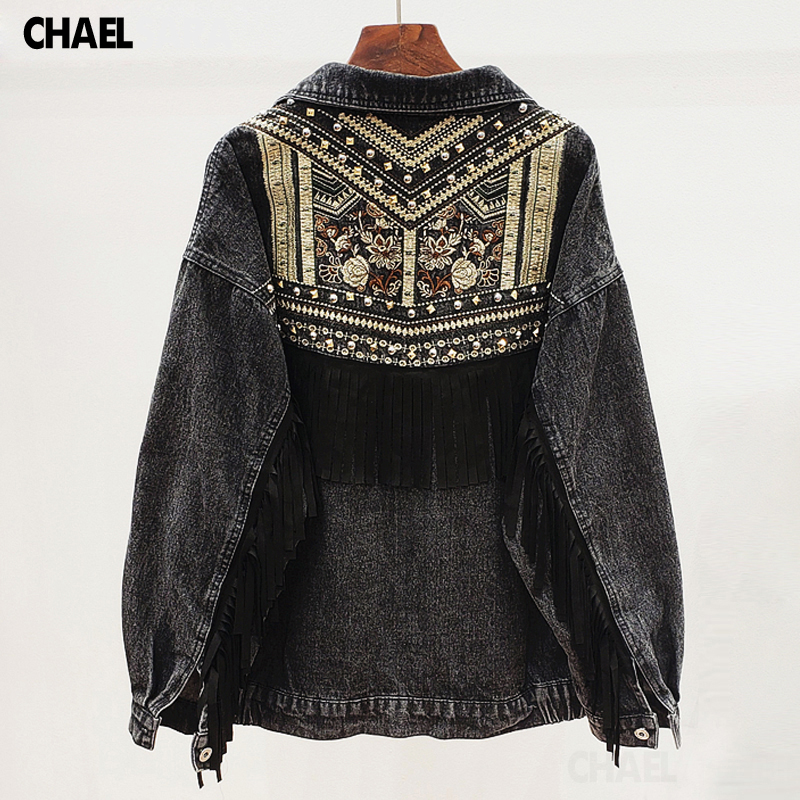 Vintage Embroidery Denim Jacket Women Casual Rivet Tassel Loose Jean Coat Female Outwear Chaqueta Mujer
