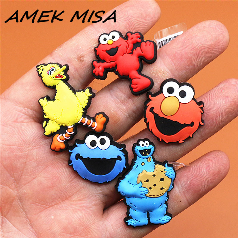High Imitation 1pcs Cartoon PVC Shoe Charms Sesame Street Shoe Accessories Shoe Buckle Decorations Fit Croc JIBZ Kids X-mas Gift