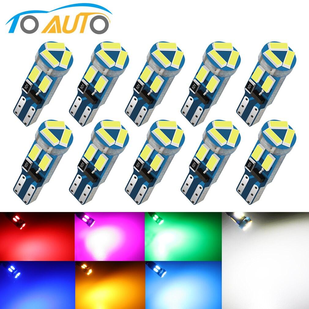 10 шт. T5 светодиодный лампы W3W W1.2W 4014 7SMD автомобиля Клин Светодиодный лампа для приборной панели авто светодиодный светильник потепления инди...