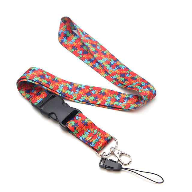 CA103 Wholesale 20pcs/lot Autism Puzzle Multi-function Mobile Phone Key Strap Rope Lanyard Neckband Mobile Phone Decoration 4