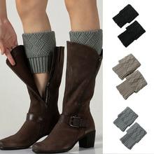 Leg Warmers Gaiters Buttons Hollow-Boot-Cuff Boot-Socks Knitting Winter Women Fashion