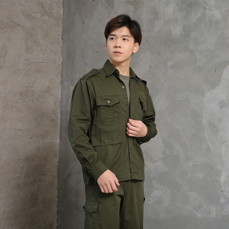 Outside Military Uniforms Work Clothes Outdoor Training Clothes Summer Long-sleeve Suit Army Fans Workwear Shirt Men Army Green
