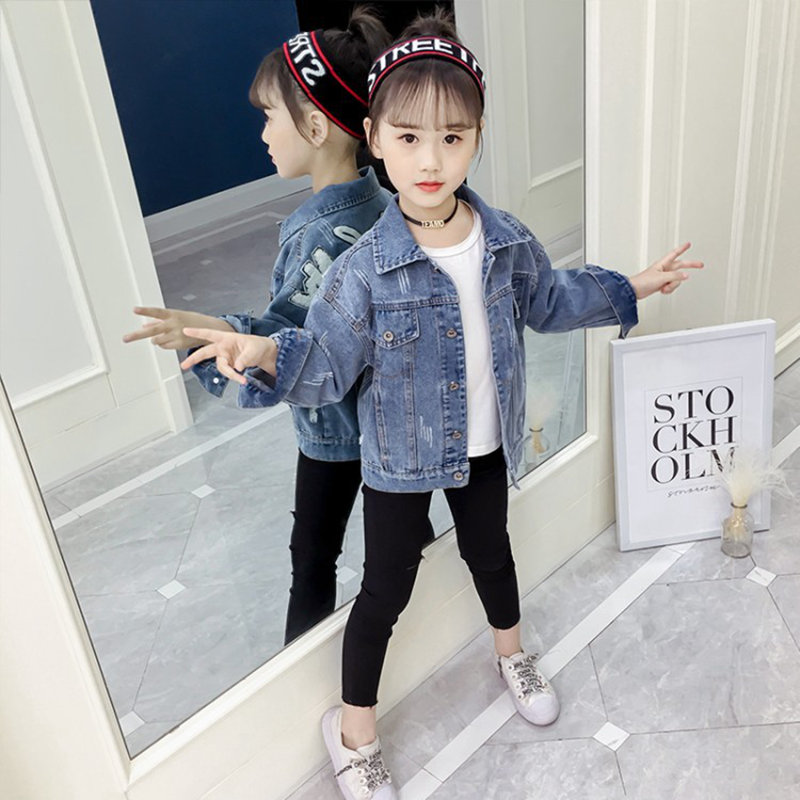 Image 4 - Girl Coats Kids Spring Autumn Denim Jackets for Girls Letter Embroidery Clothes Blue Cotton Jeans Outerwear Tops Kid Clothes NewJackets & Coats   -