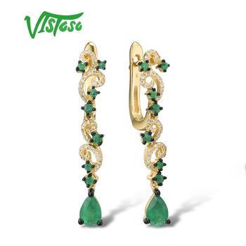 VISTOSO Gold Ohrringe Für Frauen 14K 585 Gelb Gold Funkelnden Smaragd Luxus Diamant Hochzeit Jahrestag Elegante Feine Schmuck