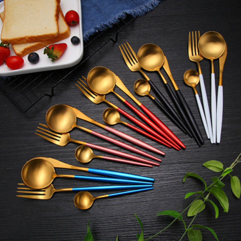 12Pcs/set Dinnerware Set 304 Stainless Steel Black Gold Cutlery Set Knife Fork Set Flatware Tableware Silverware Drop Shipping